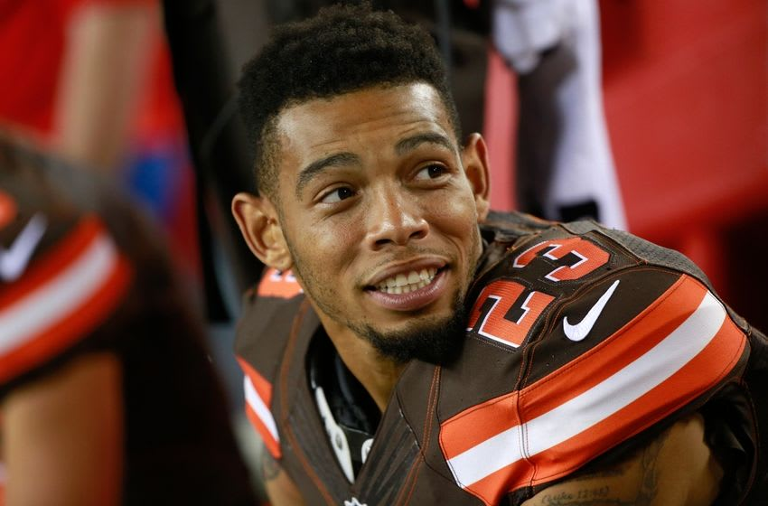 Aug 29, 2015; Tampa, FL, USA; Cleveland Browns cornerback Joe Haden (23) during the second half at Raymond James Stadium. Cleveland Browns defeated the Tampa Bay Buccaneers 31-7. Mandatory Credit: Kim Klement-USA TODAY Sports