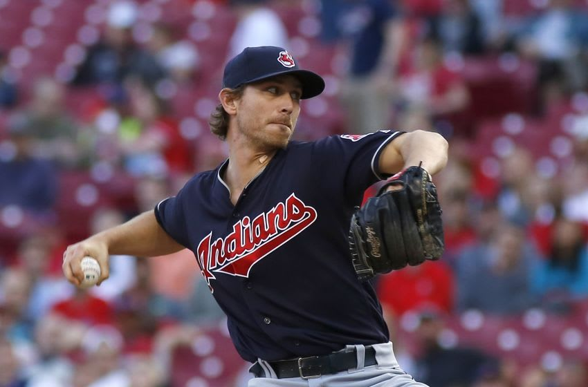 May 19, 2016; Cincinnati, OH, USA; Cleveland Indians starting pitcher Josh Tomlin throws against the Cincinnati Reds during the second inning at Great American Ball Park. Mandatory Credit: David Kohl-USA TODAY Sports
