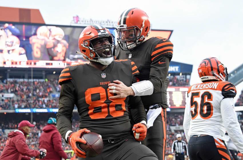 Cleveland Browns Baker Mayfield Darren Fells (Photo by Jason Miller/Getty Images)