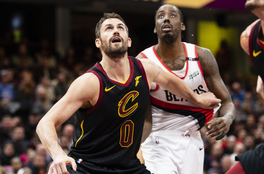 CLEVELAND, OH - FEBRUARY 25: Kevin Love #0 of the Cleveland Cavaliers posts up against Al-Farouq Aminu #8 of the Portland Trail Blazers during the second half at Quicken Loans Arena on February 25, 2019 in Cleveland, Ohio. The Trail Blazers defeated the Cavaliers 123-110. NOTE TO USER: User expressly acknowledges and agrees that, by downloading and/or using this photograph, user is consenting to the terms and conditions of the Getty Images License Agreement. (Photo by Jason Miller/Getty Images)