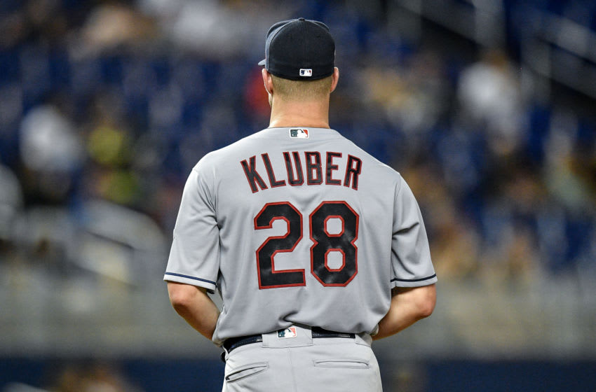 MIAMI, FL - MAY 01: Corey Kluber #28 of the Cleveland Indians delivers a pitch in the second inning against the Miami Marlins at Marlins Park on May 1, 2019 in Miami, Florida. (Photo by Mark Brown/Getty Images)