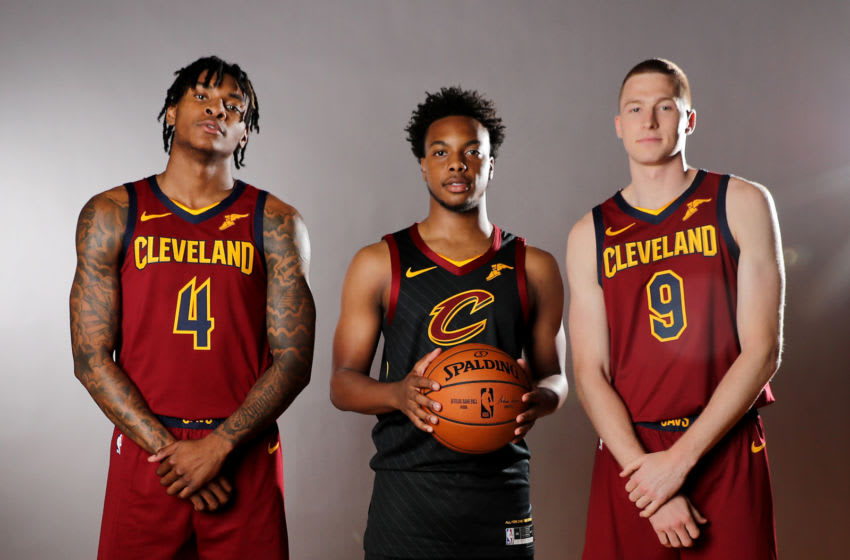 MADISON, NEW JERSEY - AUGUST 11: Kevin Porter Jr,Darius Garland and Dylan Windler of the Cleveland Cavaliers pose for a portrait during the 2019 NBA Rookie Photo Shoot on August 11, 2019 at the Ferguson Recreation Center in Madison, New Jersey. (Photo by Elsa/Getty Images)