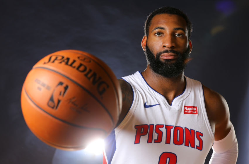AUBURN HILLS, MICHIGAN - SEPTEMBER 30: Andre Drummond #0 of the Detroit Pistons poses for a portrait during the Detroit Pistons Media Day at Pistons Practice Facility on September 30, 2019 in Auburn Hills, Michigan. NOTE TO USER: User expressly acknowledges and agrees that, by downloading and/or using this photograph, user is consenting to the terms and conditions of the Getty Images License Agreement. (Photo by Gregory Shamus/Getty Images)