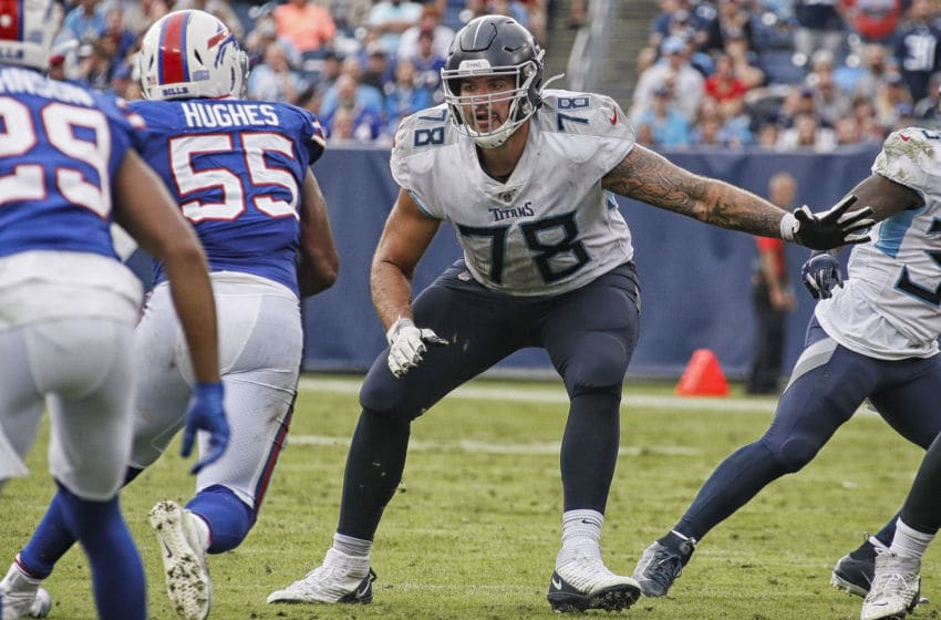 NASHVILLE, TENNESSEE - OCTOBER 06: Jack Conklin #78 of the Tennessee Titans plays against the Buffalo Bills at Nissan Stadium on October 06, 2019 in Nashville, Tennessee. (Photo by Frederick Breedon/Getty Images)