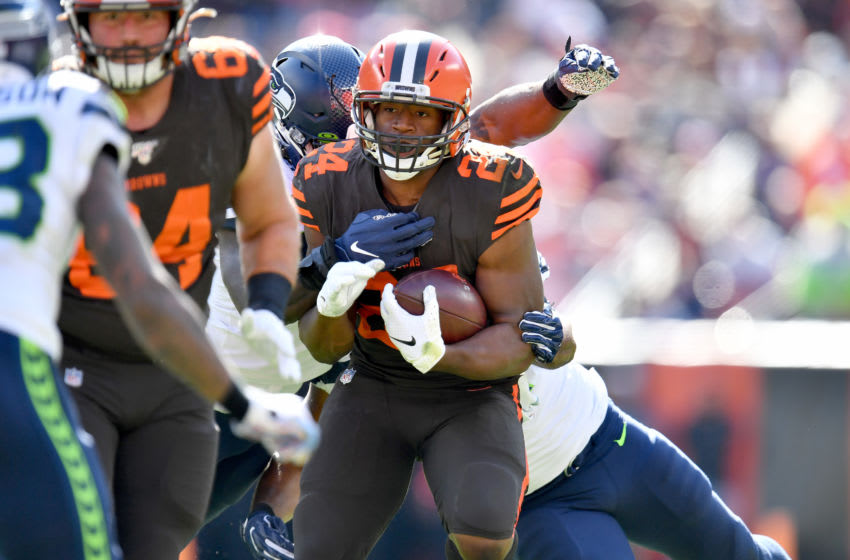 Cleveland Browns Nick Chubb, J.C. Tretter (Photo by Jason Miller/Getty Images)