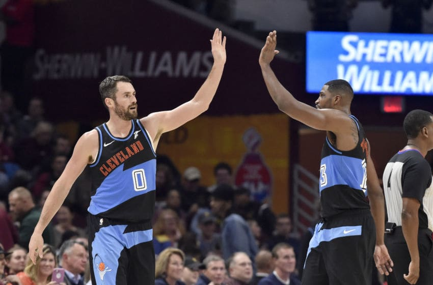 CLEVELAND, OHIO - OCTOBER 26: Kevin Love #0 celebrates with Tristan Thompson #13 of the Cleveland Cavaliers during the first half against the Indiana Pacers at Rocket Mortgage Fieldhouse on October 26, 2019 in Cleveland, Ohio. NOTE TO USER: User expressly acknowledges and agrees that, by downloading and/or using this photograph, user is consenting to the terms and conditions of the Getty Images License Agreement. (Photo by Jason Miller/Getty Images)