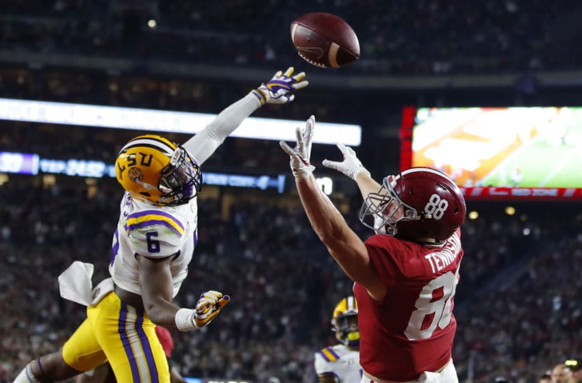 TUSCALOOSA, AL - NOVEMBER 09: Major Tennison #88 of the Alabama Crimson Tide fails to make the reception in the end zone as Jacob Phillips #6 of the LSU Tigers defends during the second half at Bryant-Denny Stadium on November 9, 2019 in Tuscaloosa, Alabama. (Photo by Todd Kirkland/Getty Images)