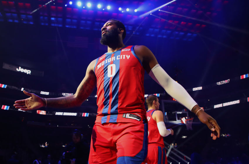 DETROIT, MICHIGAN - DECEMBER 01: Andre Drummond #0 of the Detroit Pistons is introduced prior to playing the San Antonio Spurs at Little Caesars Arena on December 01, 2019 in Detroit, Michigan. Detroit won the game 132-98. NOTE TO USER: User expressly acknowledges and agrees that, by downloading and or using this photograph, User is consenting to the terms and conditions of the Getty Images License Agreement. (Photo by Gregory Shamus/Getty Images)
