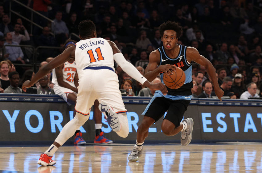 NEW YORK, NEW YORK - NOVEMBER 18: (NEW YORK DAILIES OUT) Collin Sexton #2 of the Cleveland Cavaliers in action against Frank Ntilikina #11 of the New York Knicks at Madison Square Garden on November 18, 2019 in New York City. The Knicks defeated the Cavaliers 123-105. NOTE TO USER: User expressly acknowledges and agrees that, by downloading and or using this photograph, user is consenting to the terms and conditions of the Getty Images License Agreement. (Photo by Jim McIsaac/Getty Images)