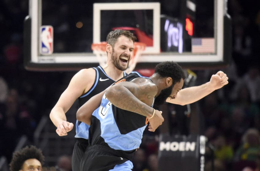 CLEVELAND, OHIO - FEBRUARY 29: Kevin Love #0 and Andre Drummond #3 of the Cleveland Cavaliers celebrate after the two connected on a pass during the second half at Rocket Mortgage Fieldhouse on February 29, 2020 in Cleveland, Ohio. The Pacers defeated the Cavaliers 113-104. NOTE TO USER: User expressly acknowledges and agrees that, by downloading and/or using this photograph, user is consenting to the terms and conditions of the Getty Images License Agreement. (Photo by Jason Miller/Getty Images)