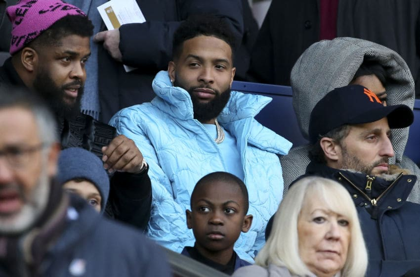 PARIS, FRANCE - FEBRUARY 29: Odell Beckham Jr. attends the Ligue 1 match between Paris Saint-Germain (PSG) and Dijon FCO at Parc des Princes stadium on February 29, 2020 in Paris, France. (Photo by Jean Catuffe/Getty Images)