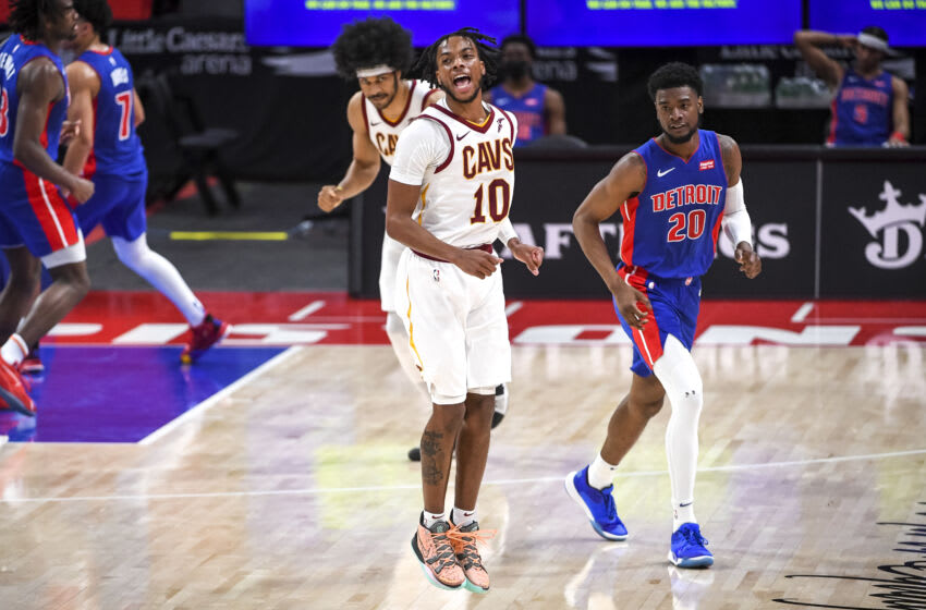 DETROIT, MICHIGAN - APRIL 19: Darius Garland #10 of the Cleveland Cavaliers reacts during the fourth quarter of the NBA game against the Detroit Pistons at Little Caesars Arena on April 19, 2021 in Detroit, Michigan. NOTE TO USER: User expressly acknowledges and agrees that, by downloading and or using this photograph, User is consenting to the terms and conditions of the Getty Images License Agreement. (Photo by Nic Antaya/Getty Images)