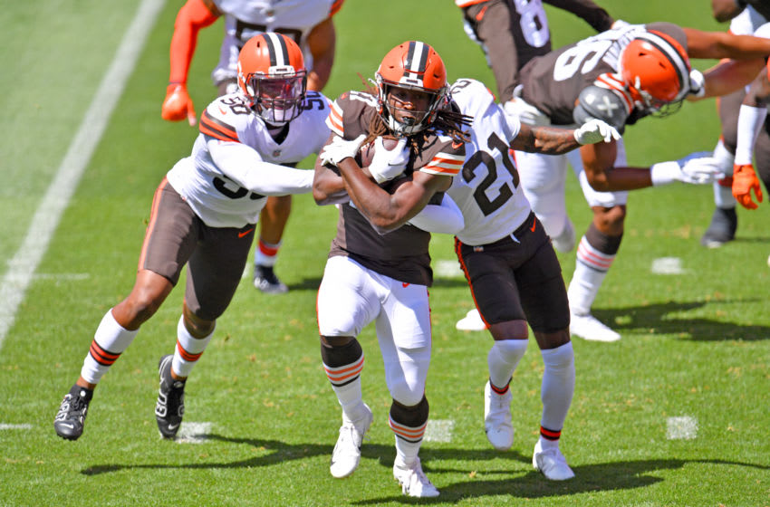 Cleveland Browns Jacob Phillips (left) (Photo by Jason Miller/Getty Images)