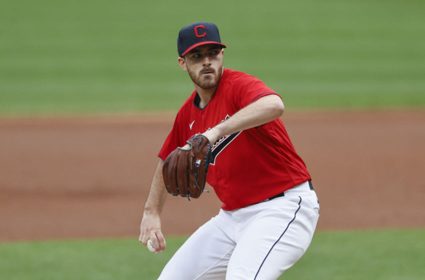 CLEVELAND, OH - SEPTEMBER 10: Aaron Civale #43 of the Cleveland Indians pitches against the Kansas City Royals during the second inning at Progressive Field on September 10, 2020 in Cleveland, Ohio. (Photo by Ron Schwane/Getty Images)