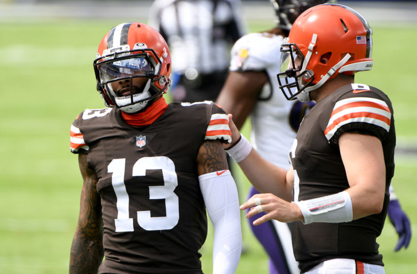 BALTIMORE, MARYLAND - SEPTEMBER 13: Baker Mayfield #6 and Odell Beckham Jr. #13 of the Cleveland Browns speak during the first half against the Baltimore Ravens at M&T Bank Stadium on September 13, 2020 in Baltimore, Maryland. (Photo by Will Newton/Getty Images)