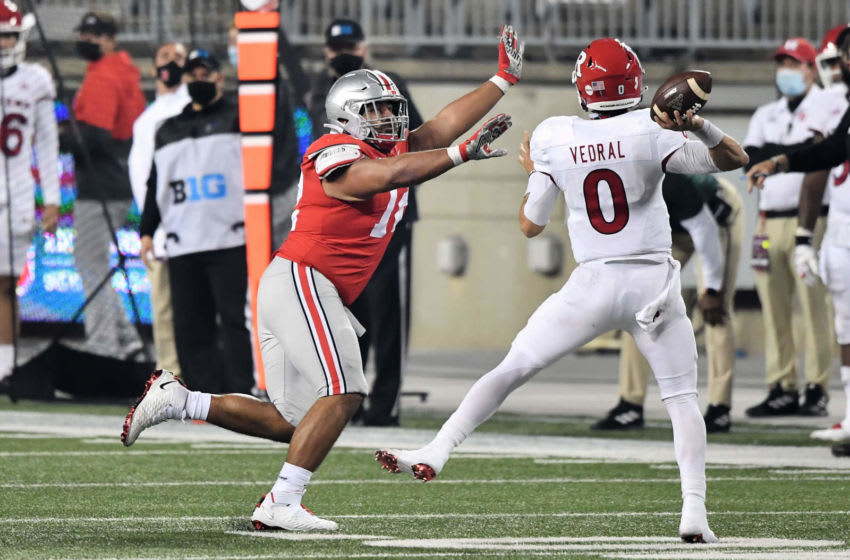 COLUMBUS, OH - NOVEMBER 7: Tommy Togiai #72 of the Ohio State Buckeyes defends against the Rutgers Scarlet Knights at Ohio Stadium on November 7, 2020 in Columbus, Ohio. (Photo by Jamie Sabau/Getty Images)