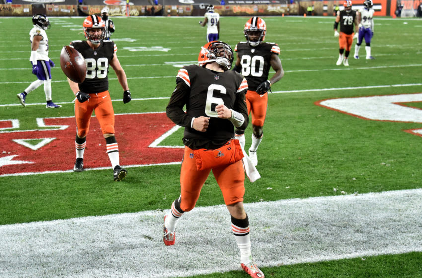 CLEVELAND, OHIO - DECEMBER 14: Baker Mayfield #6 of the Cleveland Browns celebrates a touchdown during the fourth quarter in the game against the Baltimore Ravens at FirstEnergy Stadium on December 14, 2020 in Cleveland, Ohio. (Photo by Jason Miller/Getty Images)