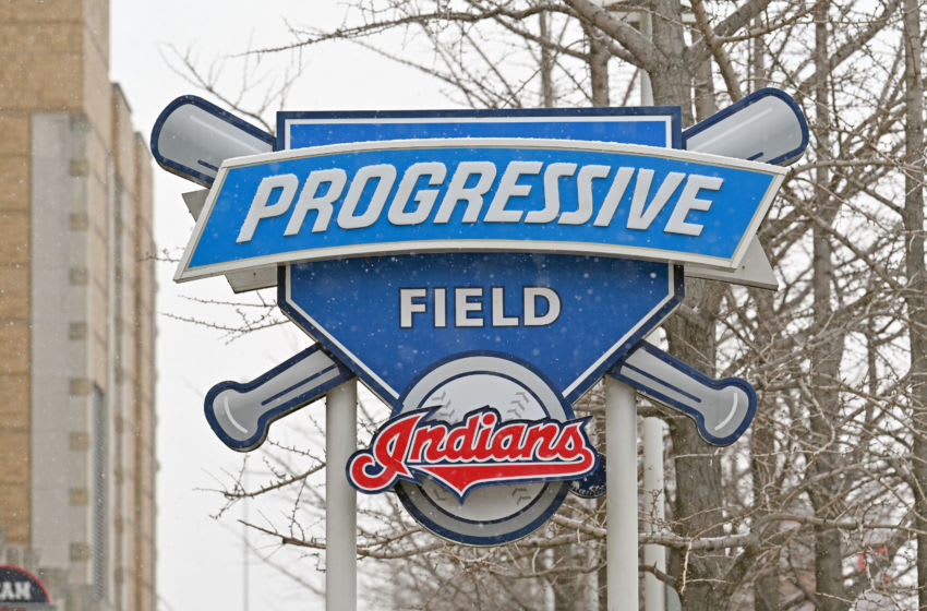 CLEVELAND, OHIO - DECEMBER 16: The Cleveland Indians logo is seen at the team's Progressive Field stadium on December 16, 2020 in Cleveland, Ohio. The Cleveland baseball team announced they will be dropping the