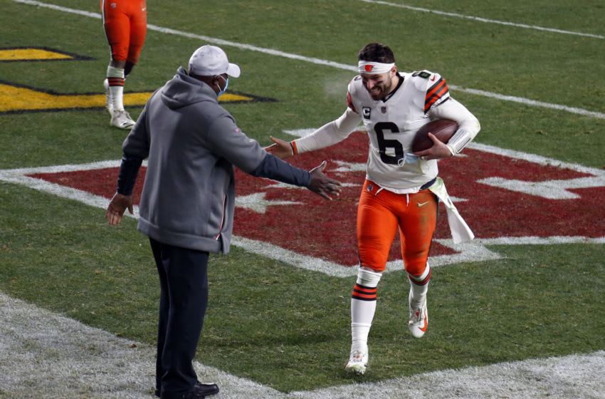 PITTSBURGH, PA - JANUARY 11: Baker Mayfield #6 of the Cleveland Browns celebrates against the Pittsburgh Steelers on January 11, 2021 at Heinz Field in Pittsburgh, Pennsylvania. (Photo by Justin K. Aller/Getty Images)