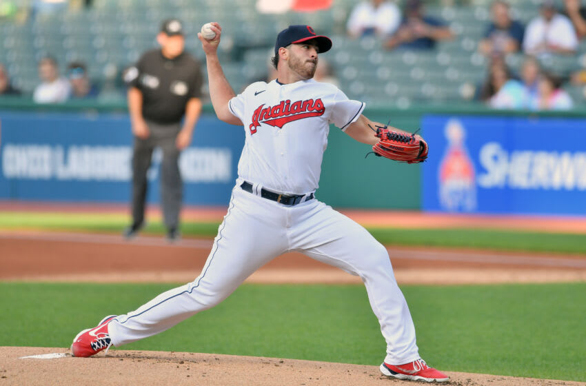 CLEVELAND, OHIO - SEPTEMBER 07: Starting pitcher Aaron Civale #43 of the Cleveland Indians pitches during the first inning against the Minnesota Twins at Progressive Field on September 07, 2021 in Cleveland, Ohio. (Photo by Jason Miller/Getty Images)