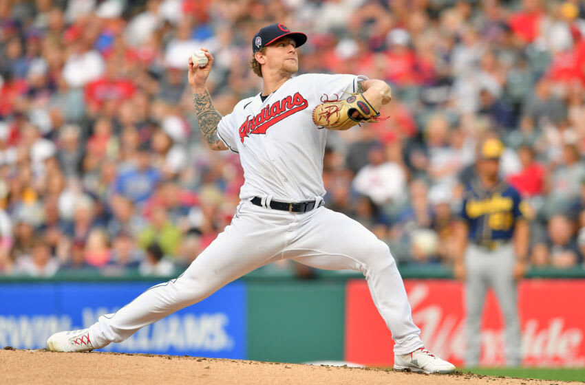 CLEVELAND, OHIO - SEPTEMBER 11: Starting pitcher Zach Plesac #34 of the Cleveland Indians pitches during the first inning against the Milwaukee Brewers at Progressive Field on September 11, 2021 in Cleveland, Ohio. (Photo by Jason Miller/Getty Images)