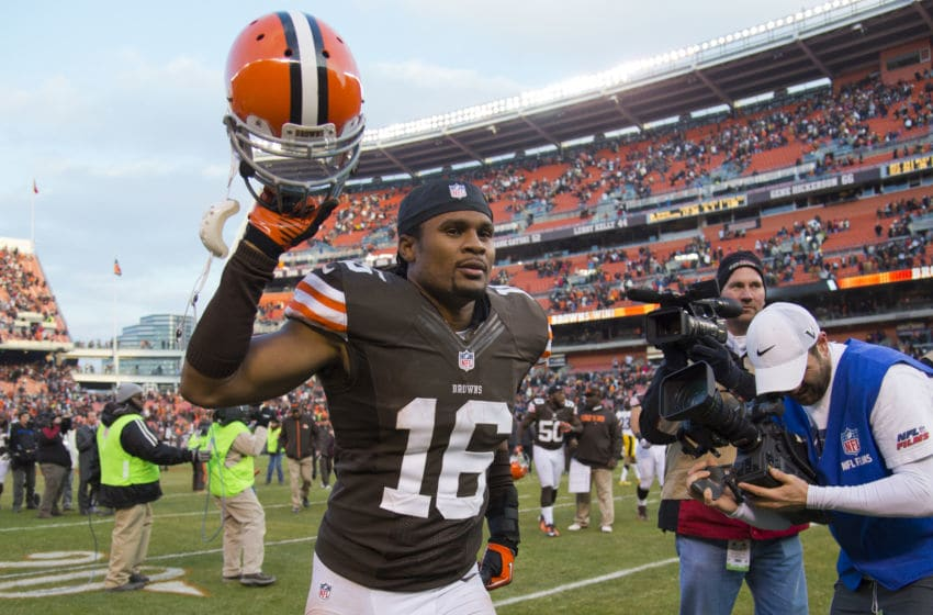 CLEVELAND, OH - NOVEMBER 25: Wide receiver Josh Cribbs #16 of the Cleveland Browns celebrates after the Browns defeated the Steelers at Cleveland Browns Stadium on November 25, 2012 in Cleveland, Ohio. The Browns defeated the Steelers 20-14. (Photo by Jason Miller/Getty Images)