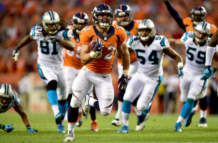 DENVER, CO - SEPTEMBER 08: Fullback Andy Janovich #32 of the Denver Broncos scores on a 28-yard touchdown run against the Carolina Panthers in the second quarter at Sports Authority Field at Mile High on September 8, 2016 in Denver, Colorado. (Photo by Dustin Bradford/Getty Images)