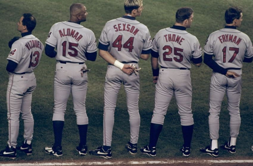 6 Oct 1998: Infielders Richie Sexson #44, Jim Thome #25 and catcher Sandy Alomar #15 of the Cleveland Indians look on prior to the American League Championship Series Game 1 against the New York Yankees at Yankee Stadium in the Bronx, New York. The Yankees defeated the Indians 7-2.