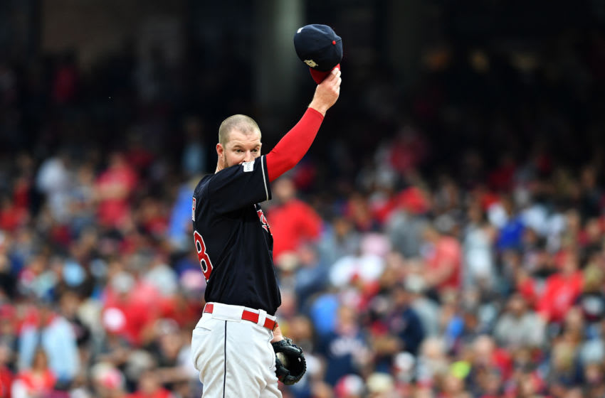 CLEVELAND, OH - OCTOBER 06: Corey Kluber #28 of the Cleveland Indians reacts in the first inning against the New York Yankees during game two of the American League Division Series at Progressive Field on October 6, 2017 in Cleveland, Ohio. (Photo by Jason Miller/Getty Images)