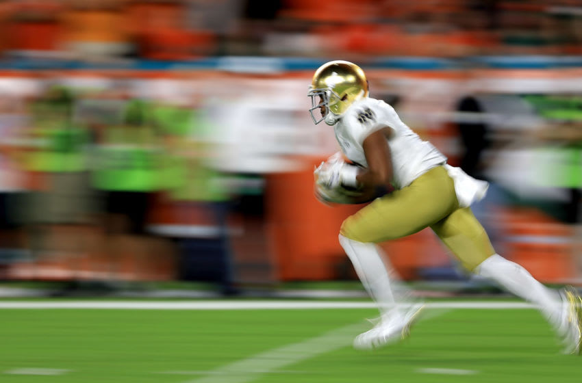 MIAMI GARDENS, FL - NOVEMBER 11: Jeremiah Owusu-Koramoah #30 of the Notre Dame Fighting Irish retuns a kick during a game against the Miami Hurricanes at Hard Rock Stadium on November 11, 2017 in Miami Gardens, Florida. (Photo by Mike Ehrmann/Getty Images)