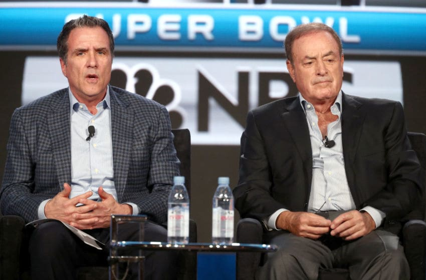 PASADENA, CA - JANUARY 09: Executive Producer, 'Sunday Night Football,' 'Thursday Night Football,' & Super Bowl LII, Fred Gaudelli (L) and Play-by-Play, 'Sunday Night Football' & Super Bowl LII, Al Michaels speak onstage during the NBCUniversal portion of the 2018 Winter Television Critics Association Press Tour at The Langham Huntington, Pasadena on January 9, 2018 in Pasadena, California. (Photo by Frederick M. Brown/Getty Images)