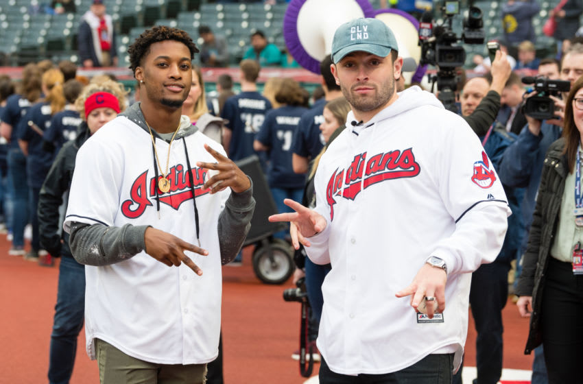 CLEVELAND, OH - APRIL 27: Cleveland Browns No. 1 draft pick Baker Mayfield (R) and No. 4 pick Denzel Ward (L) get ready to throw out the ceremonial first pitch prior to the game between the Cleveland Indians and the Seattle Mariners at Progressive Field on April 27, 2018 in Cleveland, Ohio. (Photo by Jason Miller/Getty Images) *** Local Caption *** Baker Mayfield; Denzel Ward