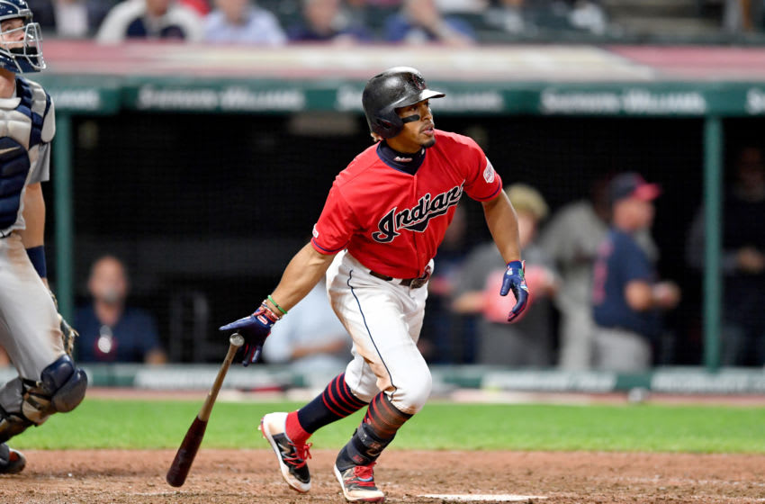 CLEVELAND, OHIO - SEPTEMBER 19: Francisco Lindor #12 of the Cleveland Indians runs to first during the eighth inning against the Detroit Tigers at Progressive Field on September 19, 2019 in Cleveland, Ohio. The Indians defeated the Tigers 7-0. (Photo by Jason Miller/Getty Images)
