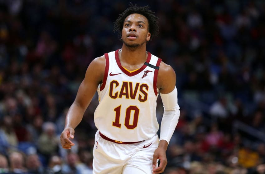 NEW ORLEANS, LOUISIANA - FEBRUARY 28: Darius Garland #10 of the Cleveland Cavaliers reacts against the New Orleans Pelicans during the first half at the Smoothie King Center on February 28, 2020 in New Orleans, Louisiana. NOTE TO USER: User expressly acknowledges and agrees that, by downloading and or using this Photograph, user is consenting to the terms and conditions of the Getty Images License Agreement. (Photo by Jonathan Bachman/Getty Images)