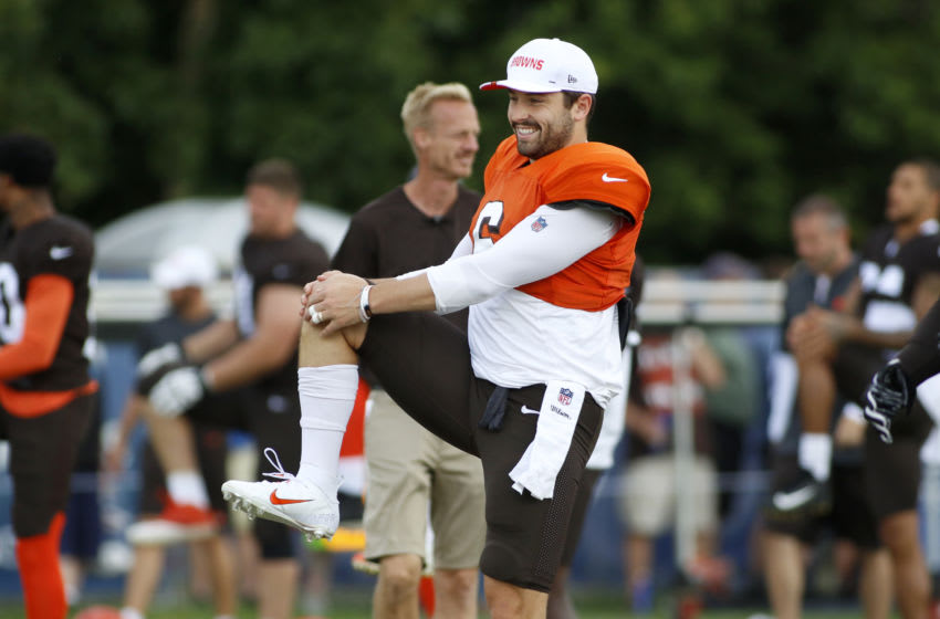 WESTFIELD, INDIANA - AUGUST 15: Baker Mayfield #6 of the Cleveland Browns warms up during the joint practice between the Cleveland Browns and the Indianapolis Colts at Grand Park on August 15, 2019 in Westfield, Indiana. (Photo by Justin Casterline/Getty Images)