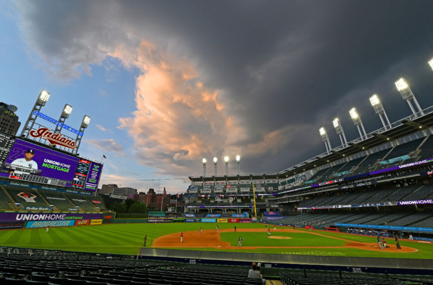 CLEVELAND, OHIO - JULY 29: Storm clouds pass by Progressive Field during the ninth inning of the game between the Cleveland Indians and the Chicago White Sox on July 29, 2020 in Cleveland, Ohio. The White Sox defeated the Indians 4-0. (Photo by Jason Miller/Getty Images)