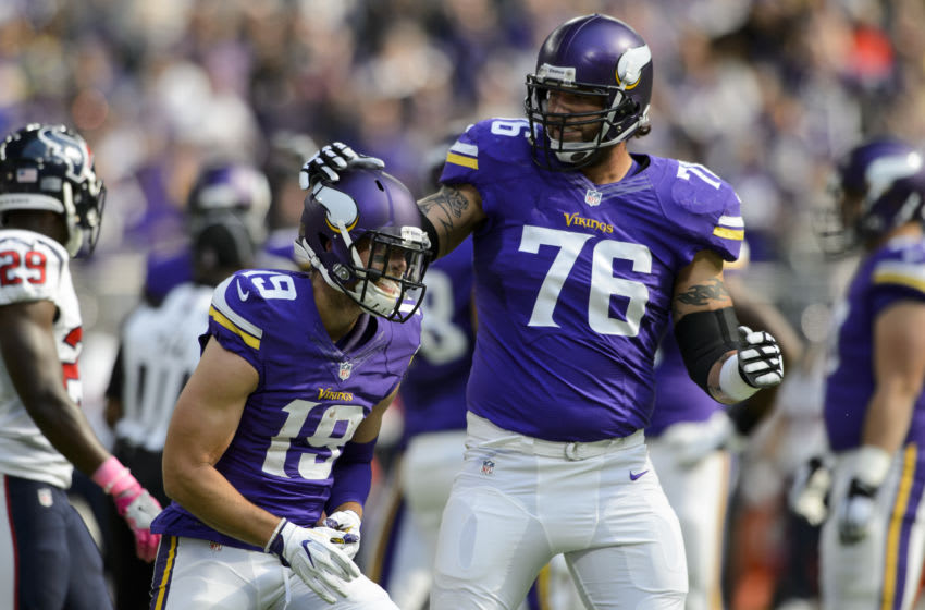 MINNEAPOLIS, MN - OCTOBER 9: Alex Boone #76 of the Minnesota Vikings congratulates teammate Adam Thielen #19 on scoring a touchdown against the Houston Texans during the game on October 9, 2016 at US Bank Stadium in Minneapolis, Minnesota. The Vikings defeated the Texans 31-13. (Photo by Hannah Foslien/Getty Images)