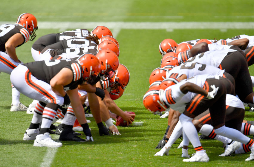 CLEVELAND, OHIO - AUGUST 30: The Cleveland Browns offensive line faces off agains the defensive line during training camp at FirstEnergy Stadium on August 30, 2020 in Cleveland, Ohio. (Photo by Jason Miller/Getty Images)