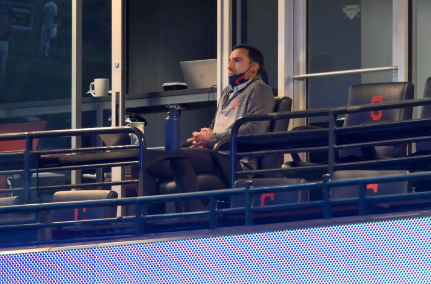 Sep 29, 2020; Cleveland, Ohio, USA; Cleveland Indians president Chris Antonetti watches from a suite during a game against the New York Yankees at Progressive Field. Mandatory Credit: David Richard-USA TODAY Sports