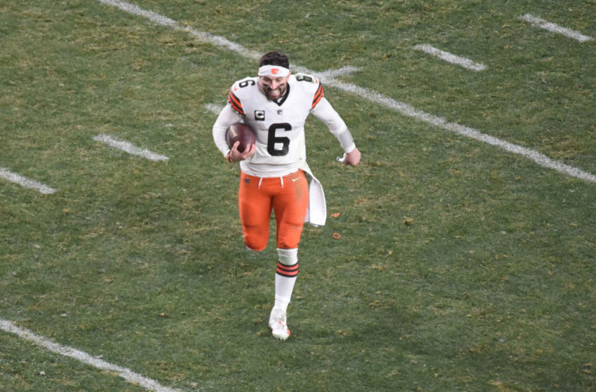 Jan 10, 2021; Pittsburgh, PA, USA; Cleveland Browns quarterback Baker Mayfield (6) runs off the field after the AFC Wild Card playoff game against the Pittsburgh Steelers at Heinz Field. Mandatory Credit: Philip G. Pavely-USA TODAY Sports