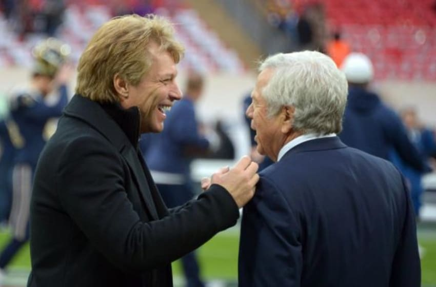 Oct 28,2012; London, UNITED KINGDOM; New England Patriots owner Robert Kraft (right) and recording artist Jon Bon Jovi before the 2012 NFL International Series game against the St. Louis Rams at Wembley Stadium. Mandatory Credit: Kirby Lee/Image of Sport-USA TODAY Sports
