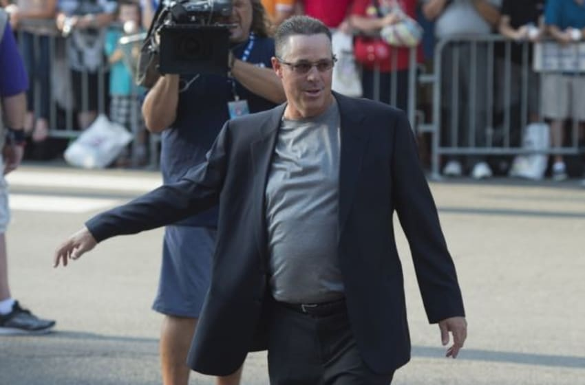 Jul 26, 2014; Cooperstown, NY, USA; Hall of Fame Inductee Greg Maddux arrives at National Baseball Hall of Fame. Mandatory Credit: Gregory J. Fisher-USA TODAY Sports