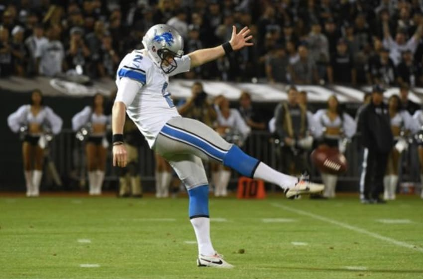 August 15, 2014; Oakland, CA, USA; Detroit Lions punter Drew Butler (2) punts the football during the third quarter against the Oakland Raiders at O.co Coliseum. The Raiders defeated the Lions 27-26. Mandatory Credit: Kyle Terada-USA TODAY Sports