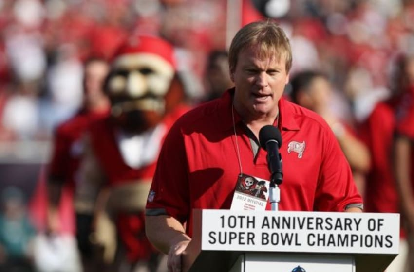 December 9, 2012; Tampa, FL, USA; Tampa Bay Buccaneers former head coach Jon Gruden talks during the presentation of the 10th anniversary of the 2002 Super Bowl Champions during halftime against the Philadelphia Eagles at Raymond James Stadium. The Eagles won 23-21. Mandatory Credit: Kim Klement-USA TODAY Sports