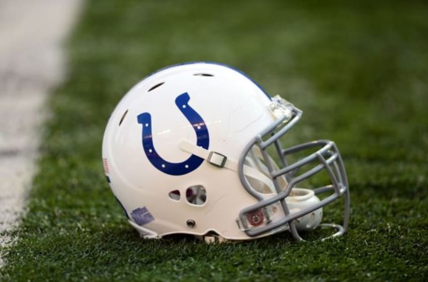 Aug 28, 2014; Cincinnati, OH, USA; Indianapolis Colts helmet on the field against the Cincinnati Bengals at Paul Brown Stadium. Mandatory Credit: Andrew Weber-USA TODAY Sports