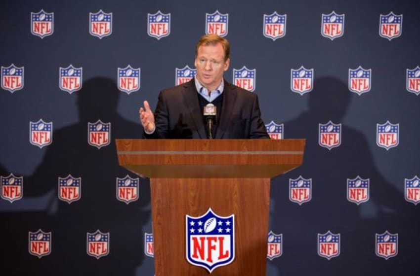 Mar 26, 2014; Orlando, FL, USA; NFL commissioner Roger Goodell speaks during a press conference at the NFL Annual Meetings. Mandatory Credit: Rob Foldy-USA TODAY Sports