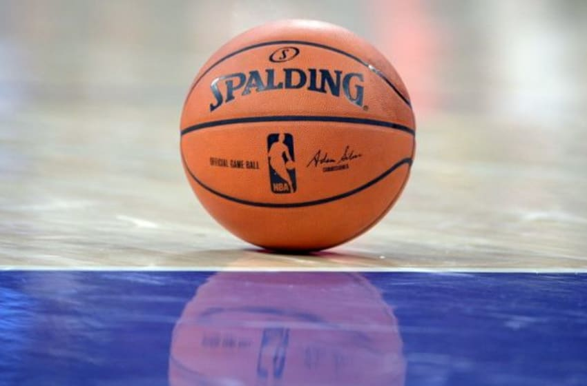 Feb 19, 2014; Los Angeles, CA, USA; General view of a Spalding basketball with the signature of NBA commissioner Adam Silver (not pictured) at Staples Center. Mandatory Credit: Kirby Lee-USA TODAY Sports