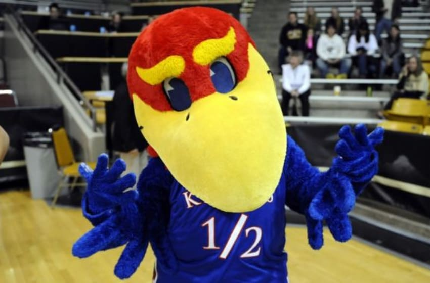 Mar 25, 2013; Boulder, CO, USA; Kansas Jayhawks mascot before the game against the South Carolina Gamecocks during the second round of the 2013 NCAA womens basketball tournament at Coors Events Center. Mandatory Credit: Ron Chenoy-USA TODAY Sports