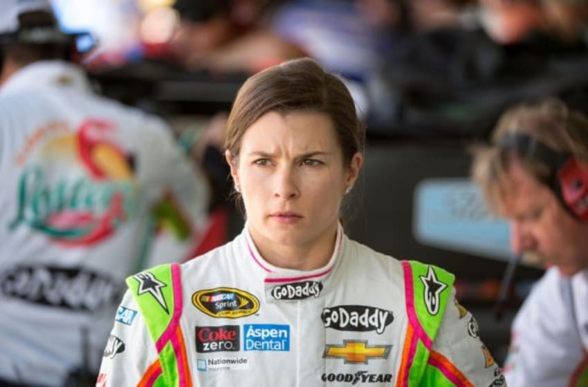 Nov 14, 2014; Homestead, Miami, USA; Sprint Cup Series driver Danica Patrick (10) during practice for the Ford EcoBoost 400 at Homestead-Miami Speedway. Mandatory Credit: Jerome Miron-USA TODAY Sports