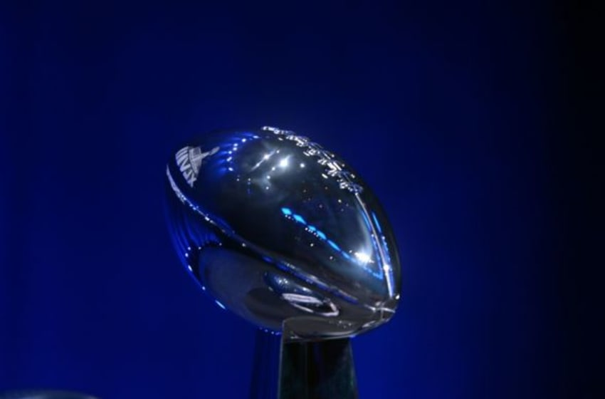 Jan 31, 2014; New York, NY, USA; General view of the Vince Lombardi Trophy prior to a press conference at Rose Theater in advance of Super Bowl XLVIII. Mandatory Credit: Kirby Lee-USA TODAY Sports